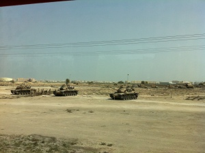 The route to the BIC was lined with tanks on my last visit to Bahrain